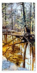 Hand Towel featuring the painting  Lubianka-2-river by Henryk Gorecki