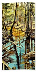 Hand Towel featuring the painting  Lubianka-3-river by Henryk Gorecki