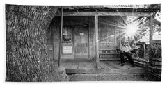 Luckenbach, Texas, Post Office In Black And White Bath Towel