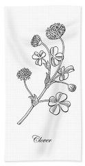 Lucky Clover Botanical Flower Drawing  Hand Towel