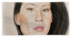 Lucy Liu Freckled Beauty I Bath Towel
