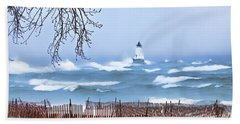Ludington Winter Shore  Hand Towel by Dick Bourgault