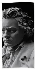 Hand Towel featuring the mixed media Ludwig Van Beethoven by Daniel Hagerman