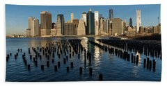 Luminous Blue Silver And Gold - Manhattan Skyline And East River Bath Towel