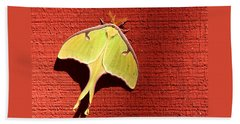 Luna Moth On Red Barn Bath Towel by Sheila Brown