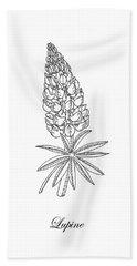 Lupine Flower Botanical Drawing  Hand Towel