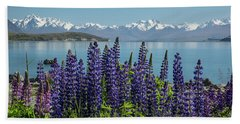 Bath Towel featuring the photograph Lupines At Lake Tekapo by Cheryl Strahl