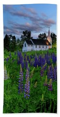 Lupines By The Church Bath Towel