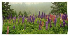 Lupins In The Mist Bath Towel