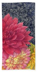 Hand Towel featuring the painting Lush Fall Botanical by Judith Cheng