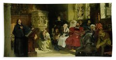 Luther Preaches Using His Bible Translation While Imprisoned At Wartburg Bath Towel