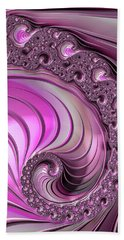 Hand Towel featuring the digital art Luxe Pink Fractal Spiral by Matthias Hauser