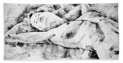 Lying Woman Figure Drawing Hand Towel
