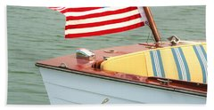 Vintage Mahogany Lyman Runabout Boat With Navy Flag Hand Towel