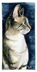 Lynx Point Cat Portrait Bath Towel