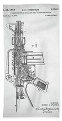 Hand Towel featuring the digital art M-16 Rifle Patent by Taylan Apukovska