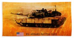 Bath Towel featuring the digital art M1 Abrams Battle Tank by John Wills