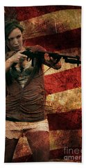M1 Carbine On American Flag Bath Towel