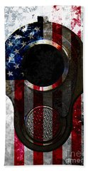 M1911 Colt 45 Muzzle And American Flag On Distressed Metal Sheet Bath Towel