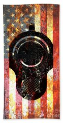 M1911 Colt 45 On Rusted American Flag Hand Towel