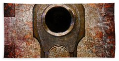 M1911 Muzzle On Rusted Riveted Metal Bath Towel