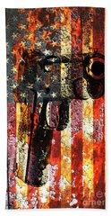 M1911 Silhouette On Rusted American Flag Bath Towel