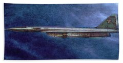 Hand Towel featuring the painting M50 Myasishchev  by Michael Cleere