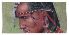 Maasai Warrior II -- Portrait Of African Tribal Man Hand Towel