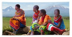 Hand Towel featuring the painting Maasai Women by Anthony Mwangi