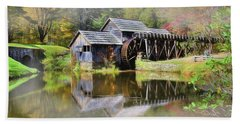 Bath Towel featuring the digital art Mabry Grist Mill by Sharon Batdorf