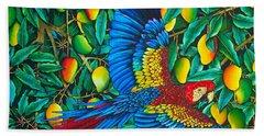 Macaw In Mango Tree - Exotic  Bird Hand Towel