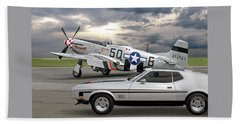 Mach 1 Mustang With P51  Bath Towel