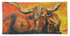 Hand Towel featuring the painting Macho Longhorn by Ron Stephens