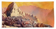 Hand Towel featuring the painting Machu Picchu Sunset by Ryan Fox
