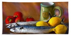 Mackerels, Lemons And Tomatoes Bath Towel