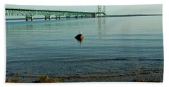 Hand Towel featuring the photograph Mackinac Bridge Michigan by LeeAnn McLaneGoetz McLaneGoetzStudioLLCcom