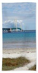 Hand Towel featuring the photograph Mackinac Bridge Path To Lake by LeeAnn McLaneGoetz McLaneGoetzStudioLLCcom