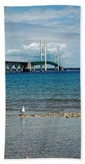 Hand Towel featuring the photograph Mackinac Bridge Private Seagull Beach by LeeAnn McLaneGoetz McLaneGoetzStudioLLCcom