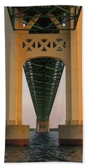 Mackinac Bridge Tower At Sunset Hand Towel