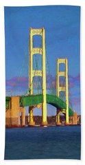 Bath Towel featuring the photograph Mackinac Bridge by Trey Foerster