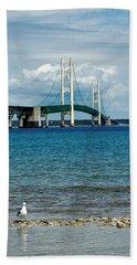 Hand Towel featuring the photograph Mackinac Bridge With Seagull by LeeAnn McLaneGoetz McLaneGoetzStudioLLCcom