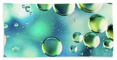 Bath Towel featuring the photograph Macro Water Droplets Aquamarine Soft Green Citron And Blue by Sharon Mau