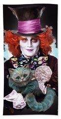 Mad Hatter And Cheshire Cat Bath Towel