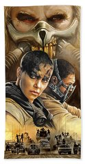 Bath Towel featuring the painting Mad Max Fury Road Artwork by Sheraz A