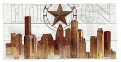 Made-to-order Houston Texas Skyline Wall Art Hand Towel