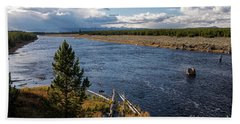 Madison River In Yellowstone National Park Hand Towel