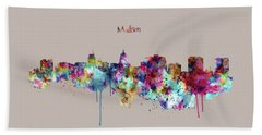 Hand Towel featuring the mixed media Madison Skyline Silhouette by Marian Voicu