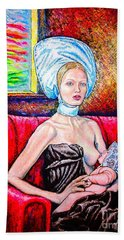 Madonna And Baby Bath Towel by Viktor Lazarev
