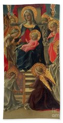 Madonna And Child Enthroned With Angels And Saints Hand Towel