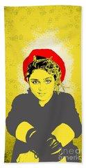 Madonna On Yellow Hand Towel by Jason Tricktop Matthews